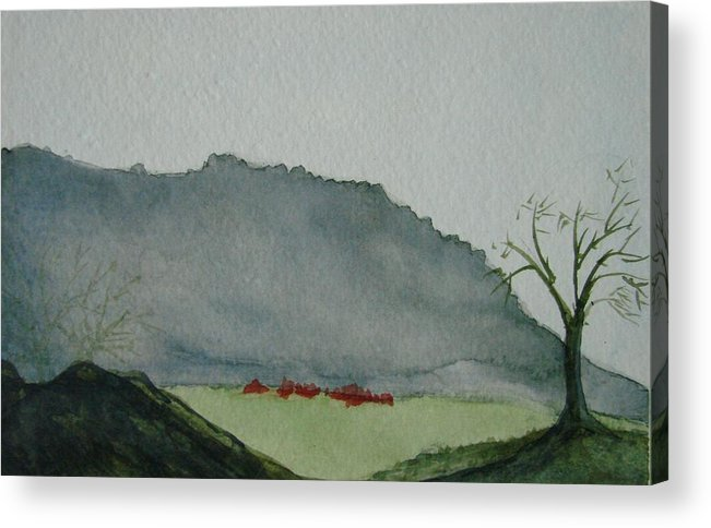 Landscape Acrylic Print featuring the painting Lone Tree by Liz Vernand