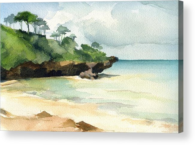 Landscape Acrylic Print featuring the painting Mombasa Beach by Stephanie Aarons