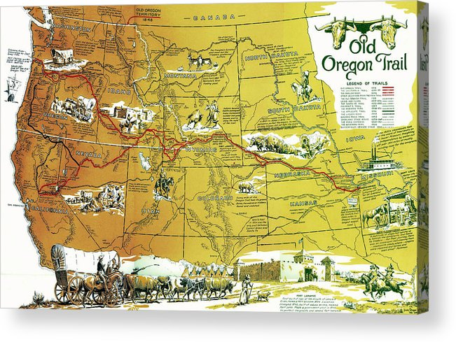 photograph about Oregon Trail Map Printable identify Outdated Oregon Path And Other Trails West 1948 Acrylic Print