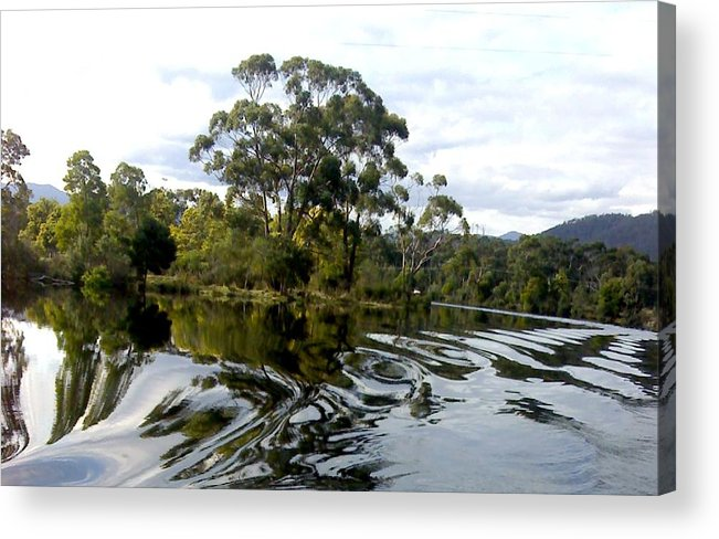 Water River Trees Reflections Patterns Swirls Acrylic Print featuring the photograph Patterns On Water by Bethwyn Mills