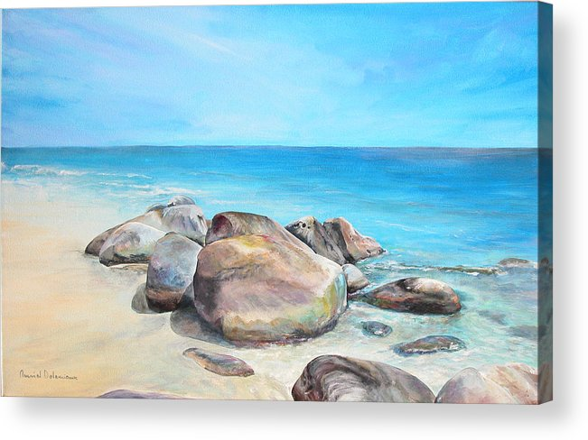 Paysage Acrylic Print featuring the painting Plage by Muriel Dolemieux