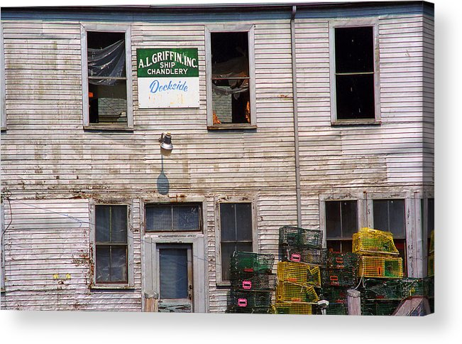 America Acrylic Print featuring the photograph Portland Maine - Dockside Fishing Shack by Frank Romeo