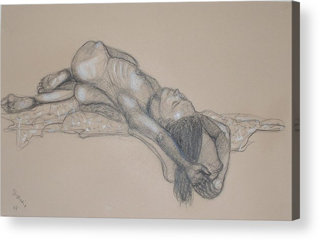 Realism Acrylic Print featuring the drawing Reclining Nude 1 by Donelli DiMaria
