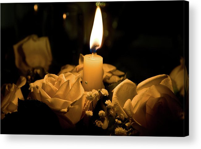 Rose Acrylic Print featuring the photograph Roses And Candle by Andrea Barbieri