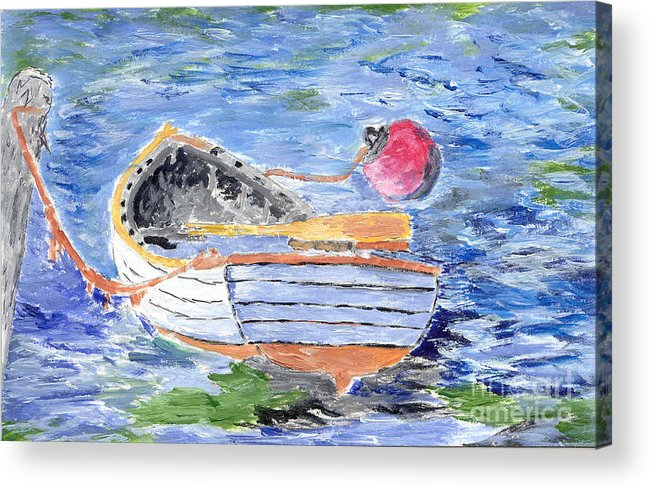 Row Acrylic Print featuring the painting Rowboat by William Bowers
