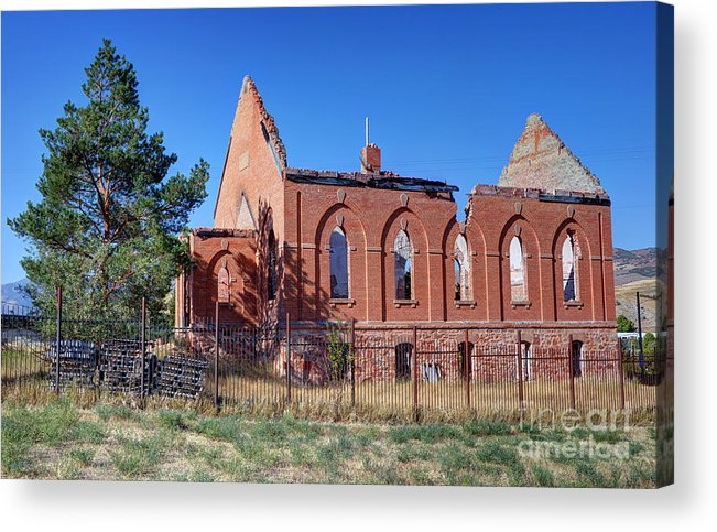 Ruined Acrylic Print featuring the photograph Ruined Church In Rural Utah by Gary Whitton