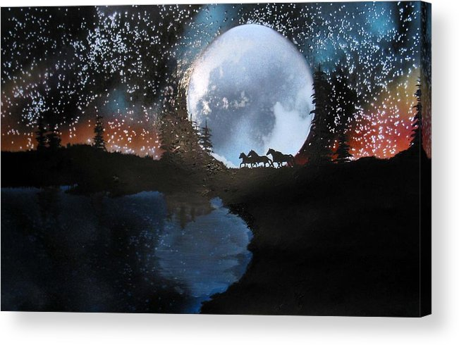Wild Horses Moon Silouette Mountains Trees Nature Night Stars Sunset Acrylic Print featuring the mixed media Running Free by Ed Moore