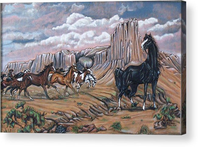 Horses Acrylic Print featuring the painting Running Wild by Lilly King