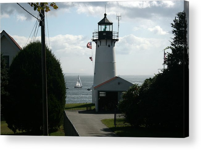 Light House Acrylic Print featuring the photograph Sailing By The Lighthouse by Jeff Porter