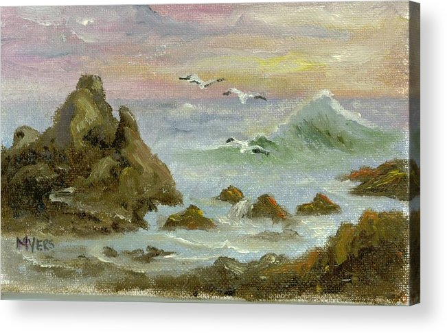 Ocean Acrylic Print featuring the painting Sea Coast by Rhonda Myers