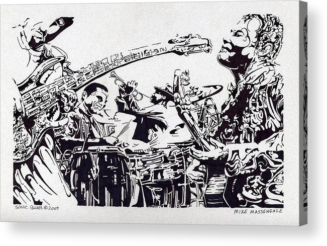 Black And White Acrylic Print featuring the drawing Sonic Blues by Mike Massengale