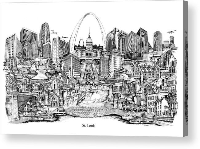 City Drawing Acrylic Print featuring the drawing St. Louis 4 by Dennis Bivens