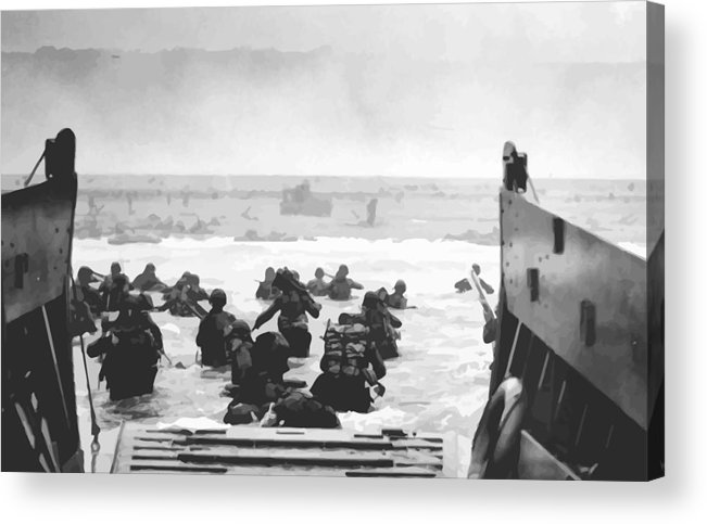 D Day Acrylic Print featuring the painting Storming The Beach On D-day by War Is Hell Store