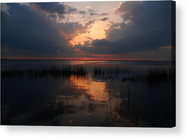 Sunset Acrylic Print featuring the photograph Sun Behind The Clouds by Susanne Van Hulst