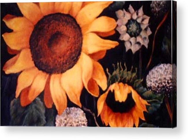 Sunflowers Paintings Acrylic Print featuring the painting Sunflowers And More Sunflowers by Jordana Sands