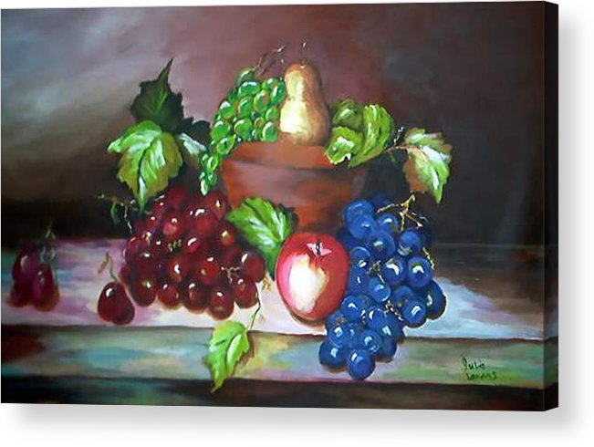 Still Life Acrylic Print featuring the painting Terra Cotta Bowl by Julie Lamons
