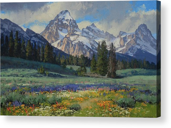Landscape Acrylic Print featuring the painting Teton Splendor by Lanny Grant
