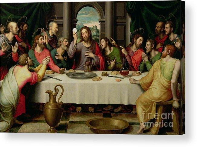 The Last Supper (oil On Panel) By Vicente Juan Macip (juan De Juanes) (c.1510-79) Acrylic Print featuring the painting The Last Supper by Vicente Juan Macip