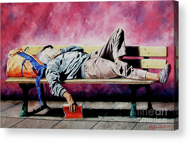 Figurative Acrylic Print featuring the painting The Traveler 1 - El Viajero 1 by Rezzan Erguvan-Onal