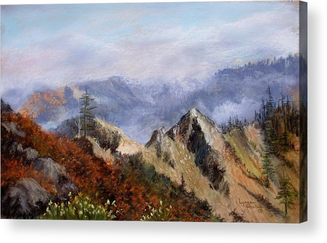 The Trinity Alps Of Northern California. Acrylic Print featuring the pastel Trinity Alps by Lynne Parker