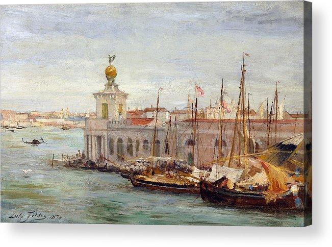 Boat Acrylic Print featuring the painting Venice by Sir Samuel Luke Fields