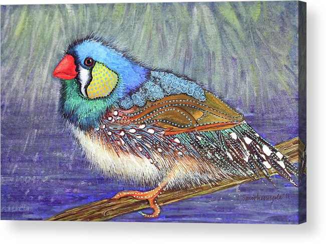 Birds Acrylic Print featuring the painting Winter Ponderings by Lesley Smitheringale