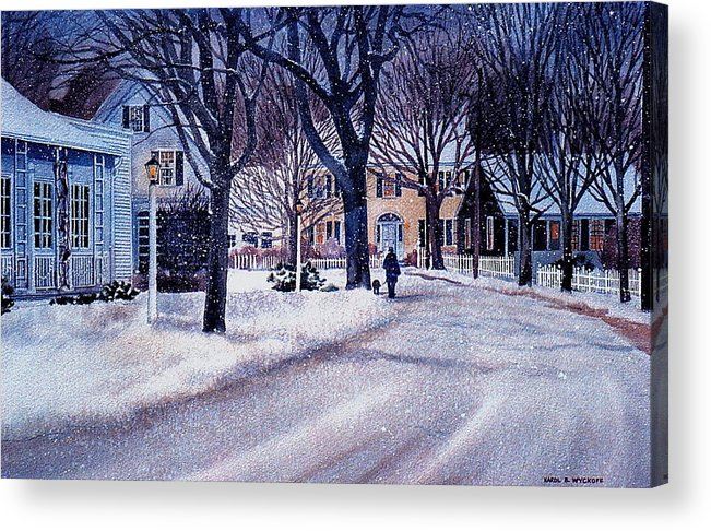 Winter Acrylic Print featuring the painting Winter Stroll by Karol Wyckoff