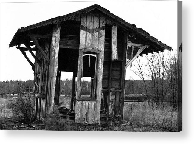 Black And White Acrylic Print featuring the pyrography Ye Ol' Train Station by Sandy Poore