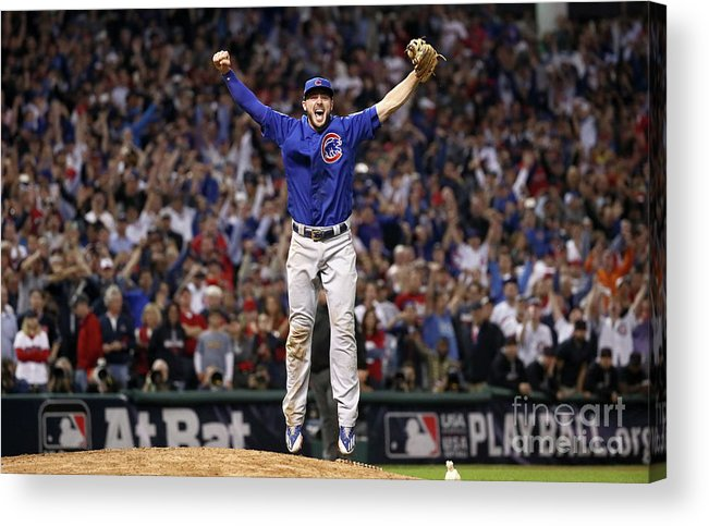 People Acrylic Print featuring the photograph World Series - Chicago Cubs V Cleveland 15 by Ezra Shaw