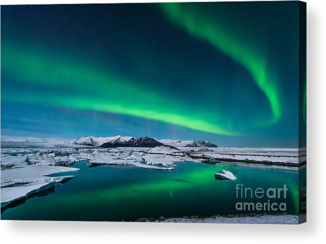 Tide Acrylic Print featuring the photograph The Northern Lights Dance Over The by John A Davis