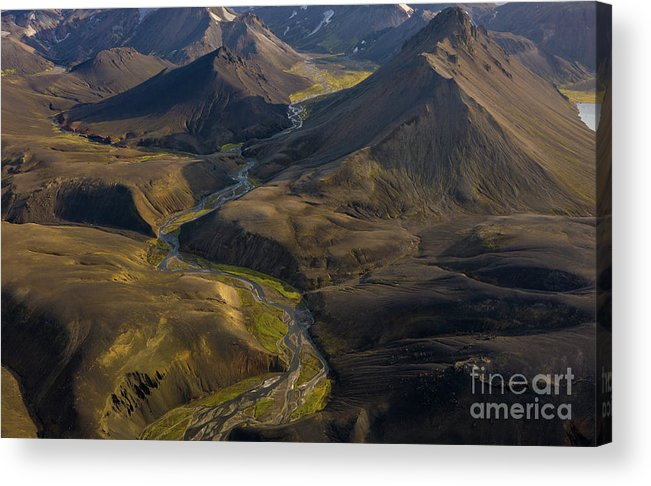 Iceland Acrylic Print featuring the photograph Over Iceland Highlands Hills Of Rhyolite by Mike Reid
