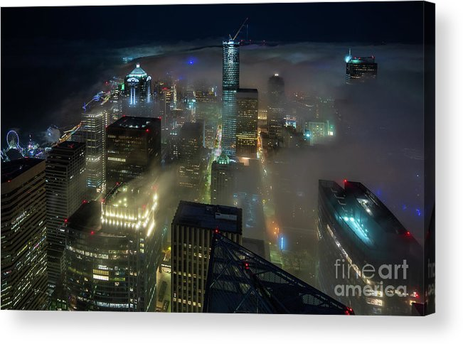 Seattle Acrylic Print featuring the photograph Seattle Night Fog by Mike Reid
