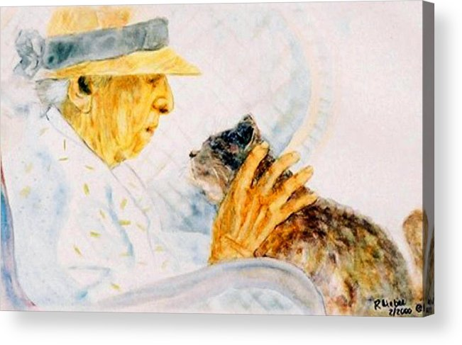 Marjory Acrylic Print featuring the painting Marjory And Her Cat by Ruth Mabee
