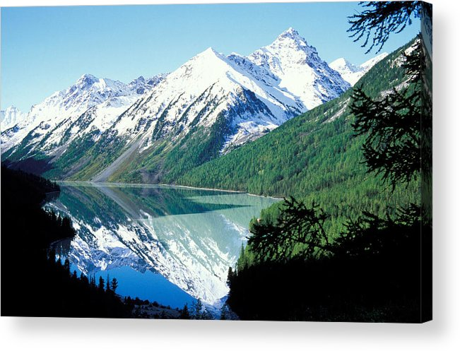Forestland; Hills & Mountains; Landscape; Nature; Nobody; Outdoors; Outside; River; Scenery; Scenic; Scenics; Snow; Trees; Water; Woodland Acrylic Print featuring the photograph Altai Mountains by Anonymous