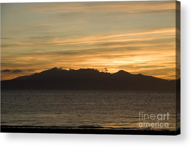 Arran Acrylic Print featuring the photograph Sunset Over Arran by Liz Leyden