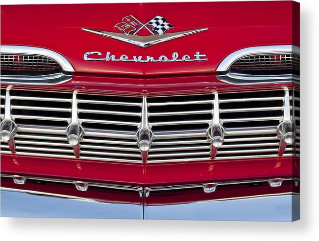 1959 Chevrolet Acrylic Print featuring the photograph 1959 Chevrolet Grille Ornament by Jill Reger