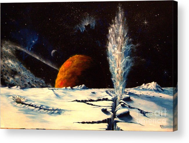Landscape. Geyser Acrylic Print featuring the painting Frozen Geyser by Murphy Elliott