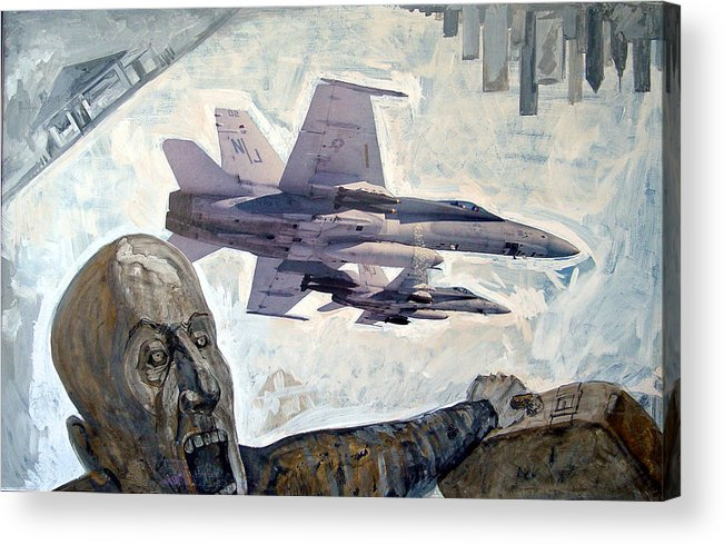 Nine Eleven Acrylic Print featuring the painting Scream by Filip Mihail