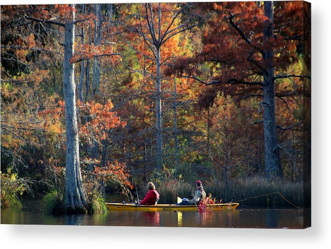 Fall Foliage Acrylic Print featuring the photograph A Fall Fishing Trip by Carolyn Fletcher