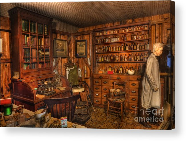 Alchemist Acrylic Print featuring the photograph A Visit To The Doctor's Office - Old Time Physician Office - Doctors - Pharmacists - Opticians by Lee Dos Santos