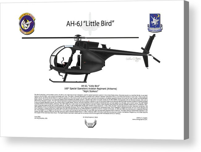 Helicopter Acrylic Print featuring the digital art Ah-6j Little Bird by Arthur Eggers