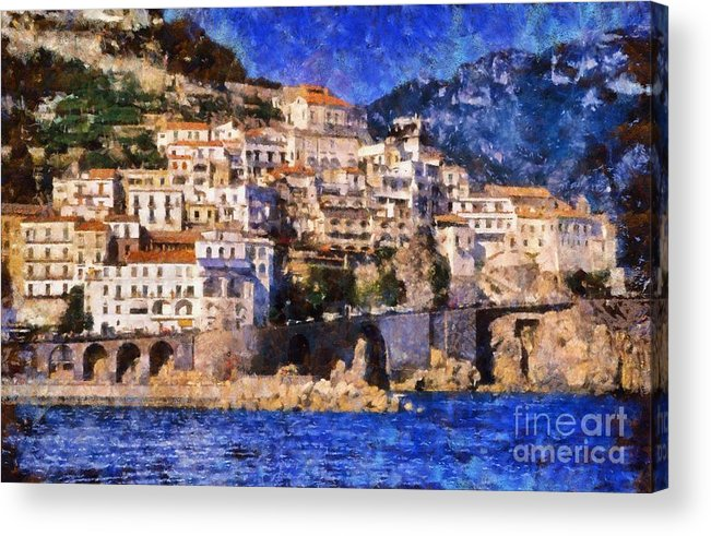 Amalfi Acrylic Print featuring the painting Amalfi Town In Italy by George Atsametakis