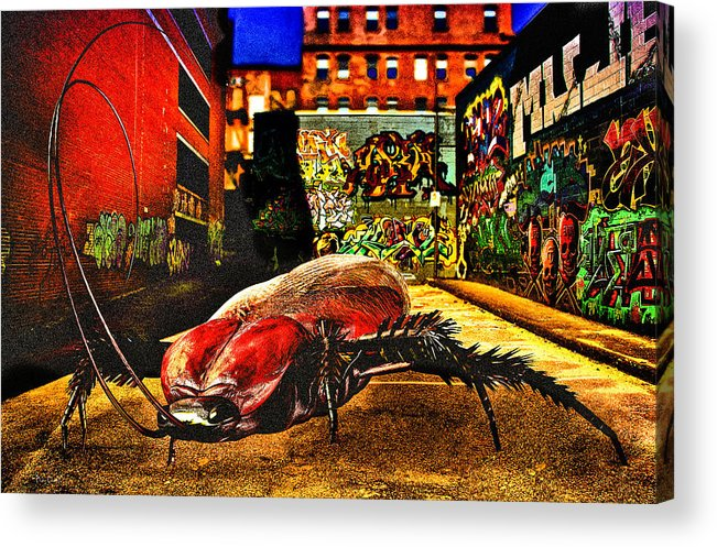 Graffiti Acrylic Print featuring the digital art American Cockroach by Bob Orsillo