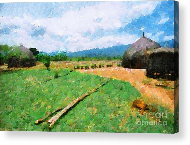 Ethiopia Acrylic Print featuring the painting At Ethiopian Village Painting by George Fedin and Magomed Magomedagaev