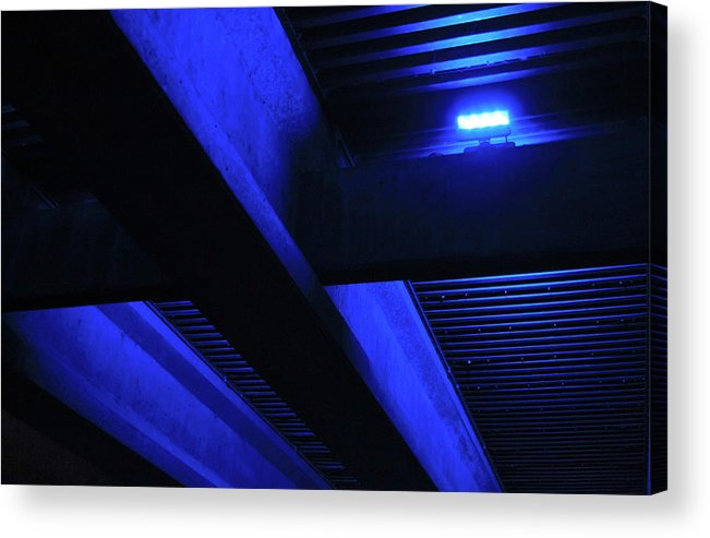Cobalt Blue Acrylic Print featuring the photograph Blue Underpass by Tony Grider
