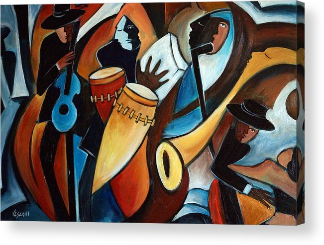 Musicians Acrylic Print featuring the painting Bolero In Acrylic by Valerie Vescovi