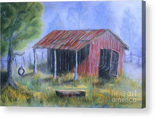 Barn Acrylic Print featuring the painting By The Barn Out Back by Jerry McElroy
