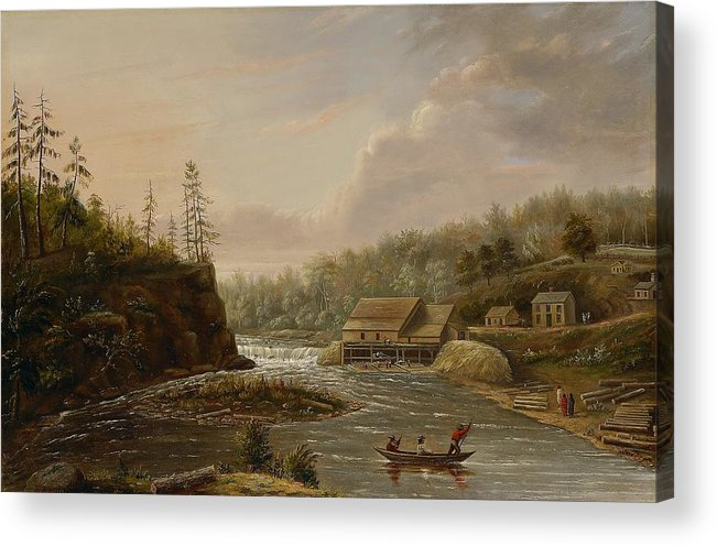 Cheever's Mill; St. Croix River; Landscape; Minnesota; Mill; Building; Industry; Industrial; Industrialisation; Boat; Figures; Houses; Buildings; Exterior; Flowing; Water; Trees; Woodland; Logging; Timber; America; American; Usa; Settlers; Settlement; Hudson River School; Wood Acrylic Print featuring the painting Cheevers Mill On The St. Croix River by Henry Lewis