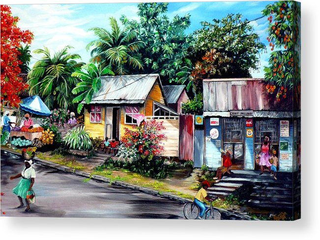 Landscape Painting Caribbean Painting Shop Trinidad Tobago Poinciana Painting Market Caribbean Market Painting Tropical Painting Acrylic Print featuring the painting Chins Parlour   by Karin Dawn Kelshall- Best