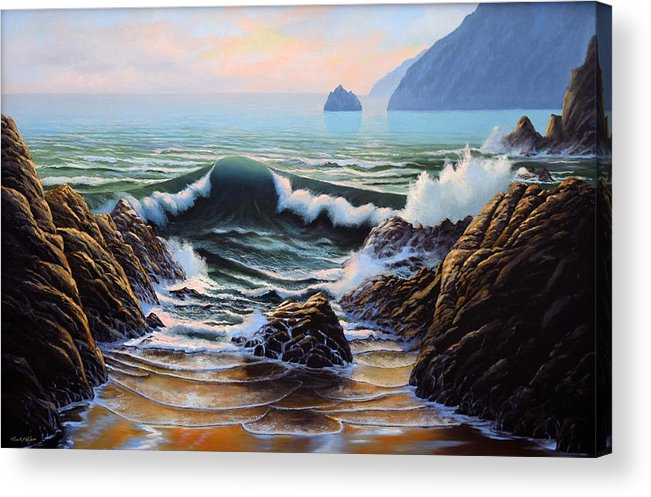 Seascape Acrylic Print featuring the painting Dancing Tide by Frank Wilson
